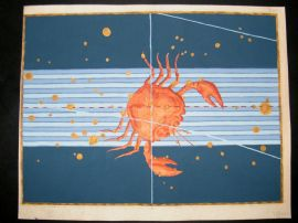 Bayer Uranometria 1661 Folio Hand Col Celestial Map. Cancer 25 Astrology Crab